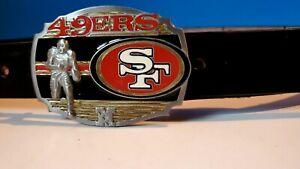 SAN FRANCISCO 49ERS  BELT BUCKLE & Genuine  Leather Black Belt & standard Buckle