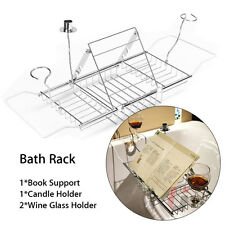 Extendable Bath Tub Rack Bathtub Caddy Organizer Storage Shelf Book Holder Tray