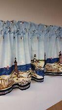 Nautical Lighthouse Blue Valance curtain