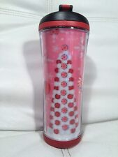 2007 Starbucks Pink Insulated Travel Mug W/Christmas Tree Peppermint  Cute Cute