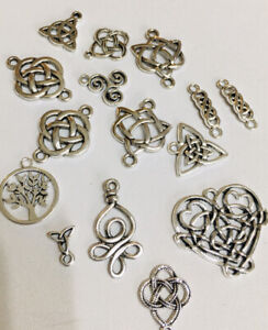 Celtic Knot Charms X 15 Mixed Silver Celtic Pagan  Wiccan Jewelly Making Charm