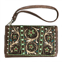 Western Embroidery Wristlet Wallet Accordion Handbag Purse For Women Brown