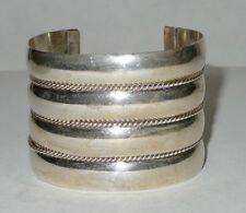 Large Sterling Silver Native American Navajo Cuff Bracelet Tahe 82 grams