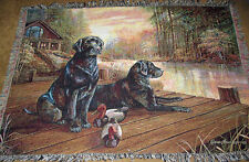 Black Labs w/Duck Decoys on Cabin Dock Tapestry Afghan Throw ~ Ruane Manning