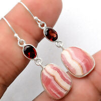Rhodochrosite Argentina and Garnet 925 Sterling Silver Earrings Jewelry AE29792