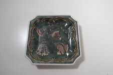 Square Porcelain Decorative Nut Dish w/ Tassels and Ribbons - Marks on Back