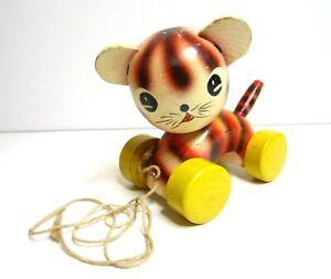 Vintage Wood Cute Cat Kitten Pull Toy Yellow Pink Stripe Japan
