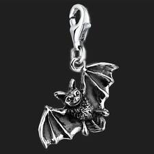925 Sterling Silver Clip On Bracelet Charm Bat 3D Charms For Bracelets
