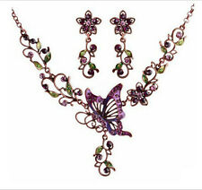Women Crystal Rhinestone Butterfly Flower Pendant Necklace Earrings Jewelry Set