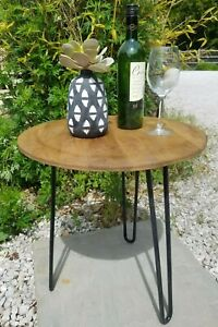 Rustic Round Side Table/Solid Wood/Lamp Table/Plant Stand/Hairpin Legs/50x45x45