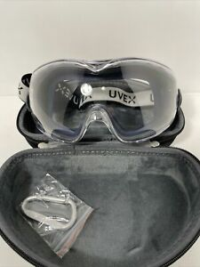 Uvex safety goggles with adjustable strap gray and blue With Case