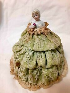 Vintage China Half Doll w/Green Lace Skirt