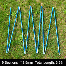 New Camping Aluminum Alloy Tent Pole 9 Sections Φ8.5mm 363cm Spare Replacement