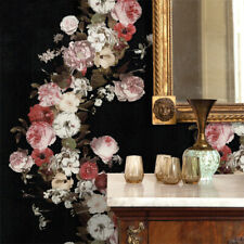 10M Black French Country Roses Waterproof PVC Wallpaper Embossed Textured Roll
