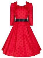 Ladies 40's 50s Retro Vintage Style Red Polka Dot Crop Sleeve Swing Dress 8 - 18