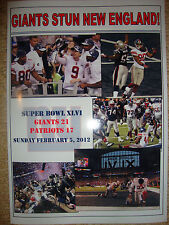 New York Giants 21 New England Patriots 17 - 2012 Super Bowl - souvenir print
