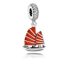 New Authentic Pandora Charm Sterling Silver Red Chinese Junk Ship 791908EN09