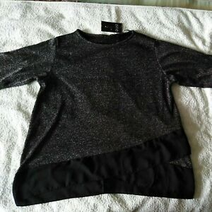 NWT Quiz Black Silver Sparkle crossover Top Evening Party Occasion UK16