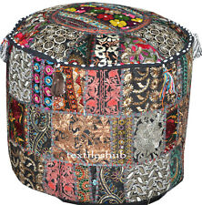 Indian Black Pouf Cover Footstool Vintage Patchwork Round Ottoman Pouf Covers