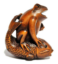 "Y6585 - 20 Years OLD 2"" Hand Carved Boxwood Netsuke - Frog and Fish"