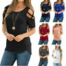 Summer Womens Strappy Cold Shoulder Tee Tops Blouse Ladies Short Sleeve T-Shirt