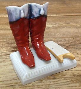 Antique Staffordshire Santa Claus Boots Jack Christmas Match Holder Striker RARE