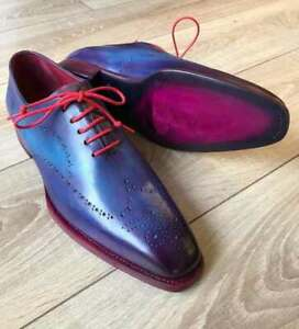 Handmade Men's Genuine Blue Leather Oxford Lace up Shoes