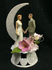 Purple , Lavender Romantic traditional Nature style Wedding Cake Topper top NEW