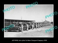 OLD HISTORIC PHOTO OF AIF WWII MILITARY, THE 1st MOTOR TRANSPORT COMPANY c1938