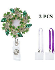 ID Badge Holder Retractable With Bling Rhinestone Metal