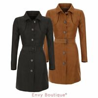 NEW WOMENS LADIES FAUX SUEDE TIE BELTED BUTTON DETAIL MAC JACKET SIZES 8-14