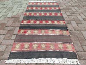 "Door Mat, Vintage Turkish Small Kilim, Bathmat, Small Rug Carpet Teppich 33""x70"""