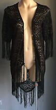 Boho Chic ICE FASHION Black Lace Short Sleeve Kimono Jacket with Fringe Size S/8