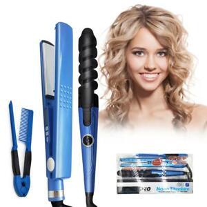 NEW 3 In 1 Hair Curler Flat Iron & Straightener Nano Titanium 450F Temperature