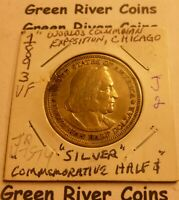 1893 Columbian Expo US COMMEMORATIVE HALF DOLLAR SILVER COIN J 2
