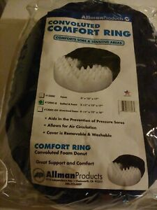 "Allman Convoluted Comfort Foam Oval Donut Cushion 3x13x17""blue washable cover"