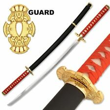 Ninja Gaiden Sword Ryu Hayabusa Dragon Steel Katana w Back Strap Black Golden
