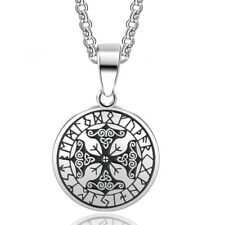 Viking Protection Runes Talisman Pendant Necklace Stainless Steel Nordic Runic