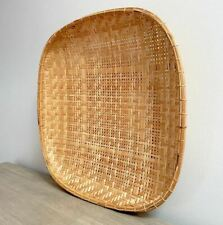 "Large Woven 22"" Rattan Wall Basket Vintage Natural Pale Bamboo Winnowing Hanging"