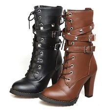 womens Ankle boots high Heel Shoes Gothic Chunky Zip Faux Leather UK Size 1-12