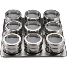 Set 10cps especiero (9 especieros soporte) 23x23x5cm acero Inox MP / Bergner