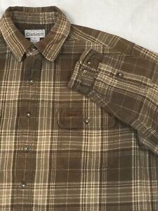 Carhartt Large Tall Shirt Men's Long Sleeve Button Down Flannel Multi Check LGT