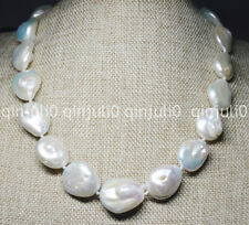 Huge 18-22mm Natural real south sea baroque white pearl necklaces 18''