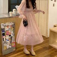 Lady Hollow Out Puff Sleeve Dress Retro Star Sequin Mesh Fairy Gothic Lolita New