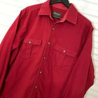 Eddie Bauer Chamois Moleskin L/S Button Shirt 100% Cotton Red Men's Size L