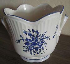 Beau Cache Pot Faience Lunéville Keller Guérin modèle Reverbère Rose-Tulipe bleu