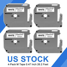 4 Pack Label Tape For Brother P Touch Eqv M231 M K231 Mk231 12mm Black On White