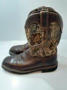 Justin Stampede Camo EH Steel Toe Wellington Work Boots AC1003 Men's Size 10 D