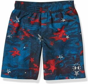 NWT Under Armour Boys' Big Volley Swim Trunks Academy red, white, blue- size YLG