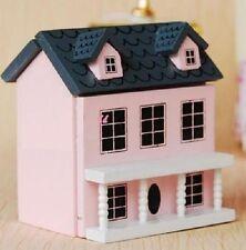 1:12 Dollhouse Miniature Kid Toy Pink Wood Dollhouse Miniature Can Open Door